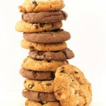 A stack of chocolate chip and hazelnut cookies
