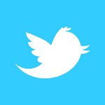 Twitter logo, a white bird on a blue background