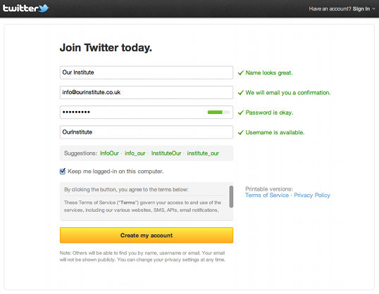 Twitter Signup Form with details filled in