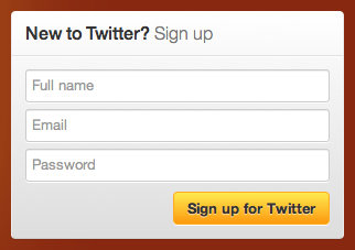 Twitter Sign Up Form